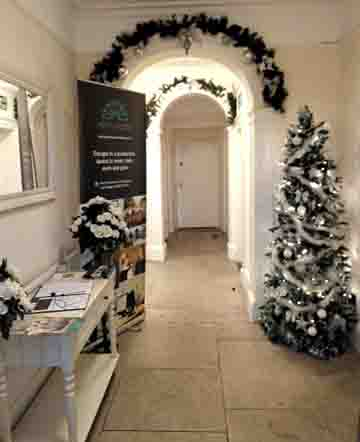 Heath House Conference Centre, Uttoxeter, Staffordshire, Christmas trees in the entrance hall