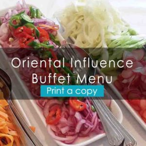 Oriental Influence Menu - Heath House Conference Centre, Uttoxeter, Staffordshire