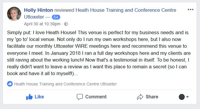Heath House Conference Centre, Uttoxeter, Staffordshire - customer reviews WiRE